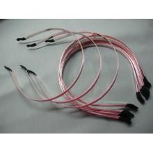 ободок  метал. с розовой атласной лентой 6мм