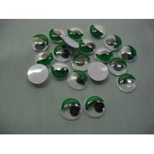 Глазки с ресничками 1,5 см зеленые
